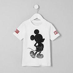 Mini boys white 'Mickey Mouse' print T-shirt