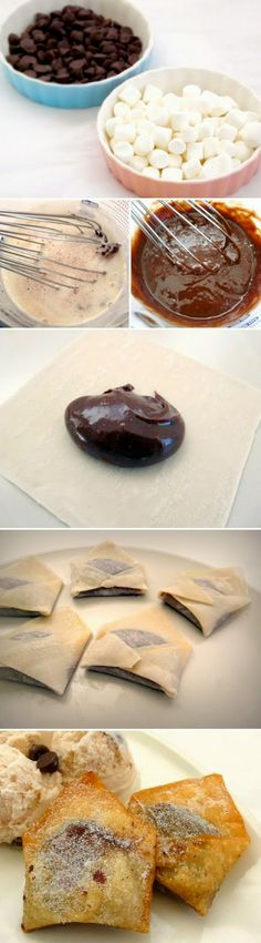 Chocolate Marshmallow Wontons