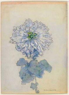 flower illustration by Piet Mondrian