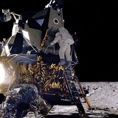 "Alan Bean Descends Intrepid Alan L. Bean, Lunar Module pilot for the Apollo 12 mission, starts down the ladder of the Lunar Module (LM) ""Intrepid"" to join astronaut Charles Conrad, Jr. Apollo Moon Missions, Nasa Missions, Apollo Space Program, Nasa Space Program, Nasa Photos, Nasa Images, Nasa Pictures, Cosmos, Apollo 11"