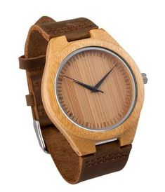 Mercimall Mens Wooden Wristwatch with Leather Strap Natural Bamboo Wood Watch Gift for Groomsmen * Visit the image link more details.