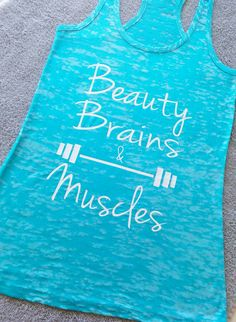 Top Seller Beauty And Brains workout Tank. Workout by Cutieandmore