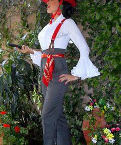 """(Traje de corto: Andalusian traditional clothes. You can use it in """"feria de abril"""", Flamenco dance, Toreo, riding horse. ) Pantalón de cintura alta con rayas y tirantes de botón. High waisted stripped pants with button suspenders."""