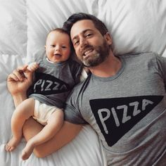Matching Father Son Shirts, Father Daughter Pizza T shirts / dad and baby matching shirts, family set of 2, cool t-shirts, made in usa, kids by Xenotees on Etsy https://www.etsy.com/listing/190718435/matching-father-son-shirts-father