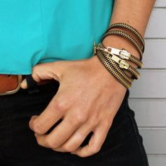 Make #Upcycled Zipper bracelets 5 ways at Brit + Co, featured @savedbyloves