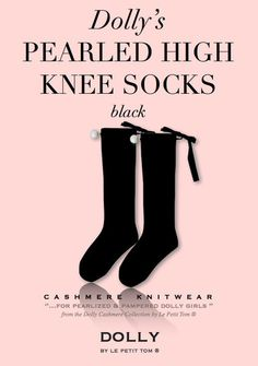 DOLLY by Le Petit Tom ® PEARLED HIGH KNEE SOCKS black