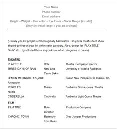 sample acting resume how to create a good acting resume template acting resume template