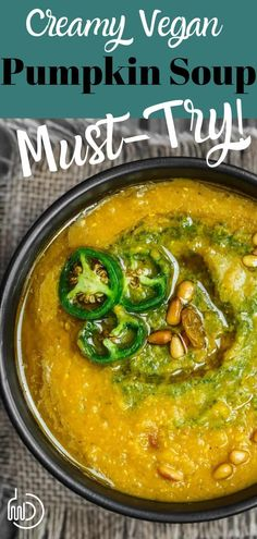 Need a hearty, satisfying, flavor-packed vegan pumpkin soup? Mediterranean-style w/ loads of flavor, plus red lentils for extra nutrition. Mediterranean Diet Recipes, Mediterranean Dishes, Mediterranean Style, Fish Recipes, Soup Recipes, Vegan Recipes, Dinner Recipes, Vegan Soups, Vegan Pumpkin Soup