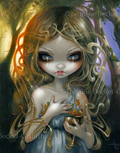 Oaken Mead!  New painting up at http://www.strangeling.com/shop/fine-art-prints-fairytale-art-prints/oaken-mead/ - illustration for @FaeMagazine #oakenmead #mead #fairytale #fairy #fantasyart #art #witch #wine #jasminebecketgriffith #faemagazine #matthewdavidbecket #strangeling #sorceress #bigeyes #bigeyeart #pop #surreal #surrealism #artnouveau #painting #acrylics #newcontemporary #newcontemporaryart #forest #magic