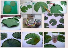 step by step water lily leaf                                                                                                                                                     Más
