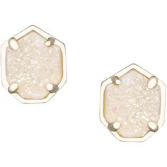 Kendra Scott Logan Druzy Button Earrings ($64) ❤ liked on Polyvore featuring jewelry, earrings, platinum drusy, button jewelry, iridescent earrings, kendra scott, druzy earrings and drusy jewelry