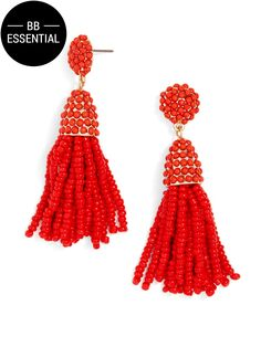 A scaled down version of a best-selling Piñata Tassel Drop, like it's larger counterpart it features cascading strands of seed beads that feel equally as fresh and festive.
