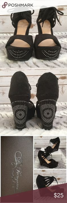 "Retro Black Velvet and Rhinestone Wedges Beautiful retro black velvet and rhinestone peep toe wedges. Features a beautiful silver and black rhinestone retro circular pattern and ankle cuffs with ties. Brand new with box. 4.5"" heels. De Bengonia Shoes Wedges"