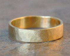 india ring - 14k yellow gold wedding band, recycled, eco-friendly, modern brushed satin finish