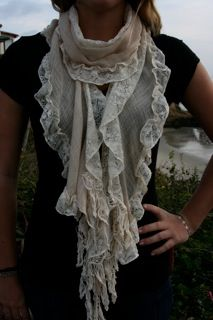 Lace, cotton, nylon- beautiful beige scarf- love all of the ruffles