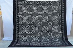 Kantha new Queen Bed Cover in Applique black quilt by IndianHippy, $89.00