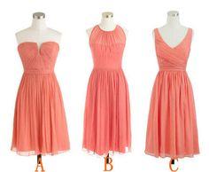 Coral Bridesmaid Dress, Popular Chiffon Bridesmaid Dress, A-line Short Bridesmaid Dress/Homecoming Dress  etsy.. too risky?