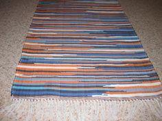 Handwoven Orange Blue White Rag Rug 25 x 61   by Rags2RugsandMore, $44.00