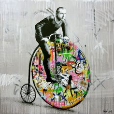 Norwegian born artistMartin Whatson produces stencil art that lashes out at the mundane, interrupting grayscale scenes with explosions of vibrantly painted graffiti. The works often focus on a singular matte subject, one that is seemingly unaware of the bright words and marks that have surrounded t