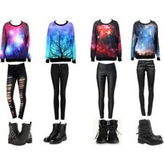 Galaxy outfits.  I love them all but could do without the ripped pants.