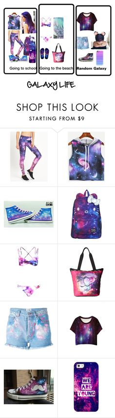 """""""GALAXY PEOPLE"""" by fashiondevaunicorn ❤ liked on Polyvore featuring Goldsheep, Converse, SANRIO, Boohoo, LeSportsac, Forte Couture, WithChic, HVBAO and Casetify"""