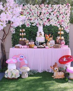 Loving this gorgeous Bambi Birthday Party! The dessert table is amazing! - Loving this gorgeous Bambi Birthday Party! The dessert table is amazing! See more party ideas and s - 1st Birthday Party For Girls, Girl Birthday Themes, Baby Girl Shower Themes, Baby Party, Birthday Party Decorations, Baby Shower Decorations, Shower Baby, Birthday Table, Bday Girl
