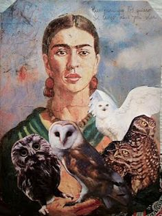 Frida holding some owls instead of her usual monkies.