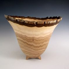 Natural Bark Edge Butternut Wood Turned Bowl  by JLWoodTurning, $175.00