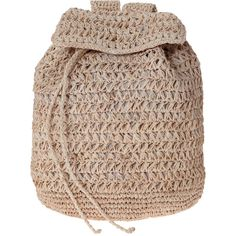 SCOOP Raffia Backpack featuring polyvore, fashion, bags, backpacks, backpack, bolso, purses, natural, beach backpack, drawstring backpack bags, woven backpack, beach bag and drawstring bag