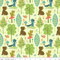 Riley Blake Designs Woodland Tails Bear Green by luckykaerufabric