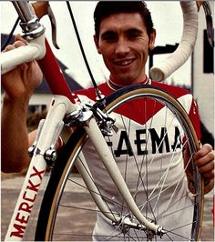 Eddy on common 36-spoke wheels, and what looks like a Campagnolo Record Pista headset in 1969   by oldcampy