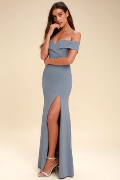 Lovely Blue Grey Maxi Dress - Off-the-Shoulder Maxi Dress