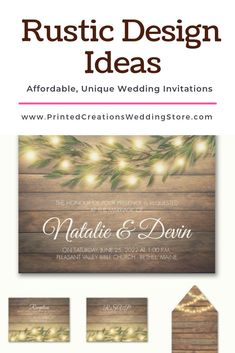 Rustic Love Invitation - Perfect for a rustic wedding with its wood background and romantic lights among the greenery.  Don't forget the charming stationery pieces to match.  Shop this and many more rustic wedding invitations at www.PrintedCreationsWeddingStore.com.  #rusticwedding  #rusticweddinginvitations  #rusticweddinginvites  #rusticinvites  #rusticinvitations  #rusticinvitationswedding  #weddinginvitations  #invitationswedding #weddinginvites #inviteswedding #barnwedding