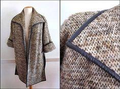 BONNIE CASHIN Vintage 60s Coat / Bonnie Cashin tweed coat / brown tweed leather piping