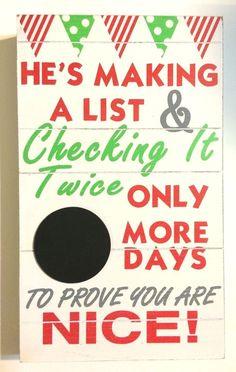 "NOW ON SALE  Wood Christmas Countdown Sign w/ Chalkboard NEW Decor 15.75"" x 9.42 x 2.25""  #Darice"