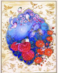 Traditional Persian painting flowers and birds