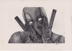 Deadpool - Pencil Drawing by Matthew Withey Pencil Art Drawings, Drawing Sketches, Drawing Ideas, Marvel Drawings, Oil Painters, Deadpool, Tattoo Dad, Comic Books Art, Overwatch