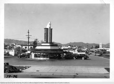 Simons Drive-In at Fairfax and Wilshire, Los Angeles, California, 1939