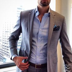 Men's Fashion | Menswear | Men's Outfit for Spring/Summer | Gray Suit | Moda Masculina | Shop at designerclothingfans.com