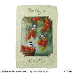 Chickadees and Apple Tree Green Hand Towels