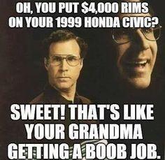 Funny. Boob job & car rims