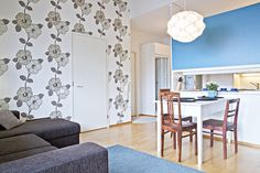 Kaupunkikoti Kajo in Mikkeli / living room & dining area. You can rent the flat! Dining Area, Beautiful Homes, Divider, Flat, Canning, Living Room, Furniture, Home Decor, House Of Beauty