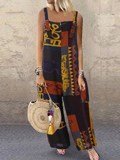 Print Contrast Color Splice Pocket Sling Wide Leg Jumpsuit Women's Clothing from Clothing and Apparel Vintage Overall, Vintage Jumpsuit, Plus Size Jumpsuit, Mode Chic, Casual Jumpsuit, Jumpsuit Outfit, Ethnic Print, Jumpsuits For Women, African Fashion