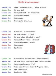 printable spanish beginning conversations introductions worksheets free for points