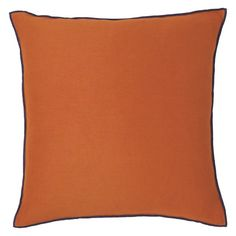 DAHLIA Orange and blue cotton and linen cushion 60 x 60cm