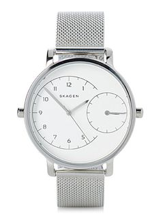 The Danish Skagen collection at Simons   Minimalist and modern Scandinavian design that will elegantly dress up your wrist   Two dials that allow you to set two time zones   36 mm stainless steel case, water-resistant (5 ATM)   Mesh-like stainless steel 16 mm band   Deployment clasp closure