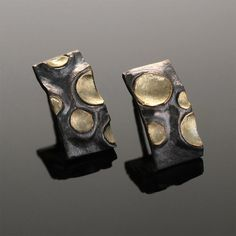 Sterling Silver & 18k Gold Moon Crater Post by SolarwindStudios, $335.00