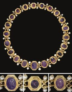 Necklace of Twenty-One Roman Amethyst Ring Stones, Circa 1st Century BC - 2nd Century AD -- The stones graduated in size, each engraved & all mounted as a necklace in a Renaissance-style setting of octagonal linked gold segments looped together with pearls projecting form the loops.