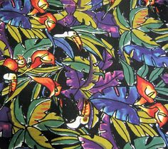 Alexander Henry Jungle Tropical Cotton Fabric Parrots Toucan Palm Leaves Bird By The Yard Cedarcoveretro On Etsy