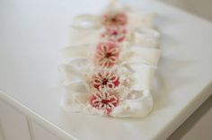 stretchy headband detailed with handmade beaded flower, red wool and vintage lacephoto prop usesuitable for NB/babyReady to ship in 2 days